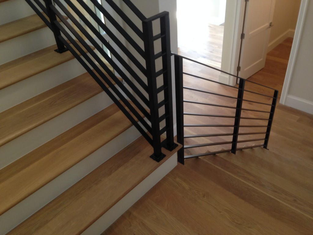 Custom finished solid hardwood stair treads.