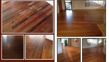 Before and after photos of refinished heart pine